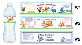 Winnie The Pooh Tigger Printed Water Bottle Labels Birthday Party Favors