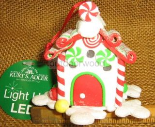 Kurt Adler Light Up LED White Gingerbread House Decorated w Candy Ornament New