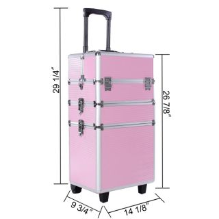 Pro Aluminum Rolling Makeup Case Salon Cosmetic Organizer Trolley