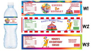Circus Clown Carnival Printed Water Bottle Labels Birthday Party Favors Supplies