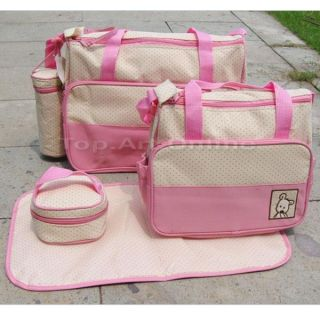 5pcs Set Newborn Baby's Diaper Nappy Changing Big Bag Handbag Tote Shoulder Pink