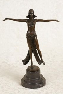 French Art Deco Bronze Figurine Signed Descomps Statue