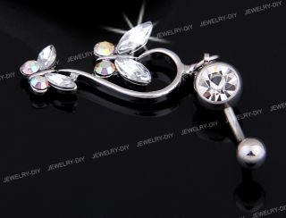 316L Surgical Steel Rhinestone 2 Butterfly Barbell Navel Belly Ring Bar 1 2x0 6""