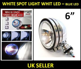 "Fog White Spotlight Spot Light Chrome Eye 6"" Car 3 Settings Blue LED Lamps"
