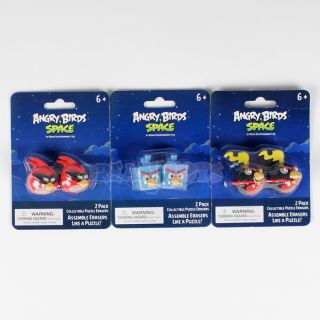 Rovio Angry Birds Space Assemble Puzzle Erasers 2pk Set of 3 Licensed