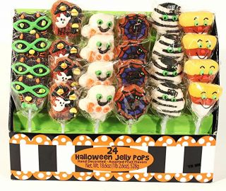 24 Halloween Candy Lollipops Fruit Flavors Jelly Characters Hand Decorated Live