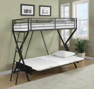 Contemporary Youth Sandy Black Twin Over Twin Convertible Futon Loft Bunk Bed
