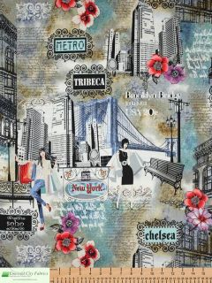 Timeless Treasures New York City Girls Multi Cotton Quilt Quilting Fabric Yards