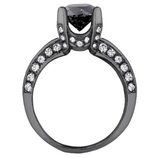 3 50 Ct Pave Set Black Diamond Engagement Ring in 18K Black Gold New