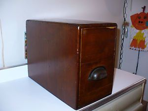 Antique Tall Wood File Box Library Index Card Catalog Holder Desk Organizer