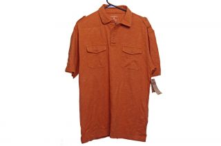 Ruff Hewn Men SS Polo Golf Shirt Button Up Well Worn Size Large Cream Orange New