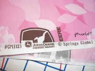 John Deere Tractor Pink Floral Camo Cotton Fabric Bt½yd RARE