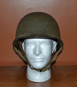 WWII Original US Army M1 Helmet Fixed Bale Front Seam with Capac Liner