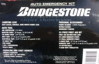 New Bridgestone Car Emergency Kit 71 PC Travel Road Safety First Aid Carry Case