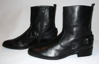 Marc Fisher Hetra Boots Ankle Shoes Black Womens Sz 8 5 M Leather Zip Buckle