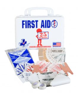 ANSI Standard Plastic First Aid Kit for 25 People Made in The USA MS FAK25P USA