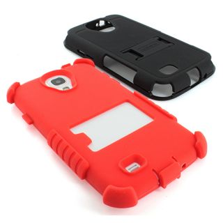 Red BK Tri Shield Heavy Duty Hybrid Hard Case Cover Samsung Galaxy S4 SIV s IV
