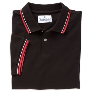 Charles Wilson Men's Black Tipped Pique Polo Shirt New TH01