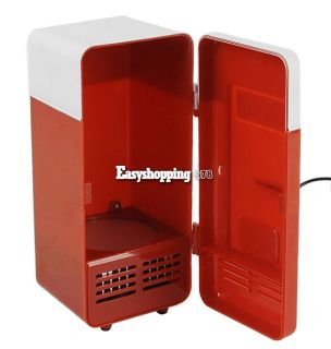 Red Mini USB LED PC Fridge Refrigerator Drink Cans Food Cooler Warmer ES9P