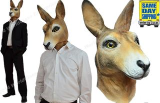 Kangaroo Halloween Costume Mask Like Horse Head Creepy Animal Prop Latex Novalty
