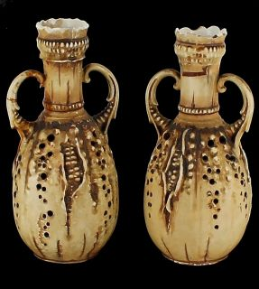 Striking Antique Teplitz Art Nouveau Amphora Pair Austrian Organic Corn Forms