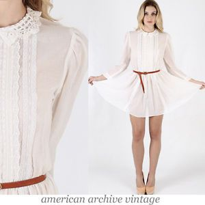 Vtg 70s Gunne Sax Sheer Gauze Lace Boho Prairie Wedding Festival Mini Dress S