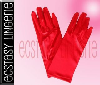 Short Satin Gloves Black Red White Great for Costumes