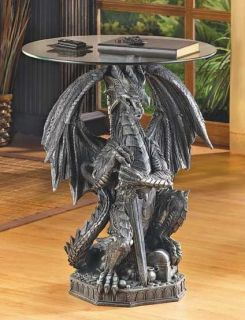 Glass Top Table w Medieval Dragon Statue Base