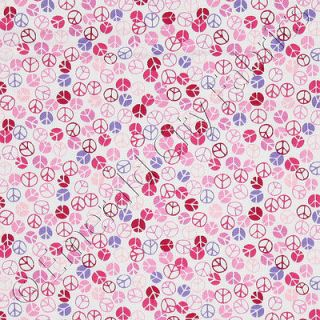Michael Miller Peace Love Happiness Petite Peace Signs Pink Cotton Fabric Yd