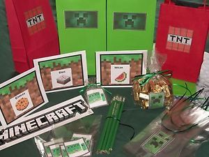 Handmade Minecraft Birthday Halloween Party Treat Bags for 8 Gift Wrap Bag