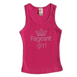 3 Pearls Kids Girls 12 14 Black Pageant Girl Crown Ribbed Tank Top
