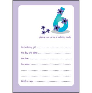 Pack of 10 Childrens Birthday Party Invitations 6 Years Old Girl Bpif 19 Purple