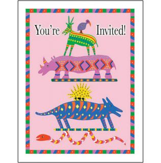 Pack of 10 Childrens Birthday Party Invitations Pink Animals BP 21P