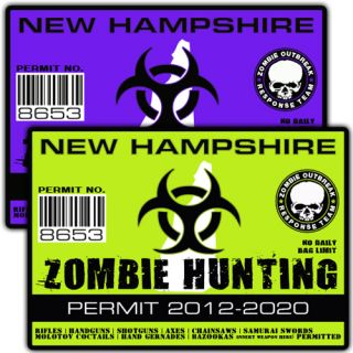 New Hampshire Zombie Outbreak Response Team Decal Hunting Permit Sticker A