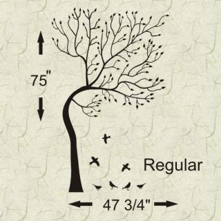 Wind Blowntree Birds Vinyl Wall Decal Mural Decor
