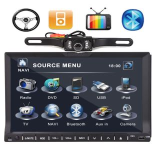 "Double DIN 7"" Car DVD Player in Dash Radio iPod TV BT None GPS Head Unit Camera"