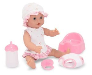 Melissa Doug Drink and Wet Baby Doll w Diaper Pacifier Clothes Potty Chair