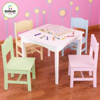 New Kids 5 Piece Table Chair Set Childrens Activity Furniture White Pastel