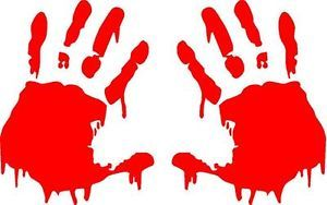 2 Red Bloody Zombie Hands Print Vinyl Decals Stickers Car Truck Window Free SHIP