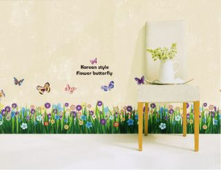 Korean Style Butterfly Flower Baseboard Wall Sticker Decor Decals Peel and Stick