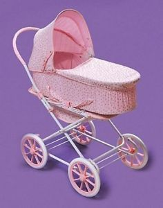 Kids Pink Baby Carriage Toy Doll Pram Play Stroller Rosebud New
