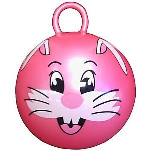"Kids Childs Toy 24"" Jumping Hippity Hop Ball with Round Handle and Rabbit Face"