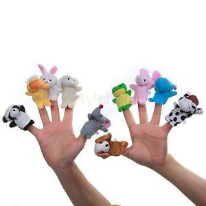 10pcs Cute Animal Family Finger Puppets Set Teach Baby Kids Hand Soft Toy