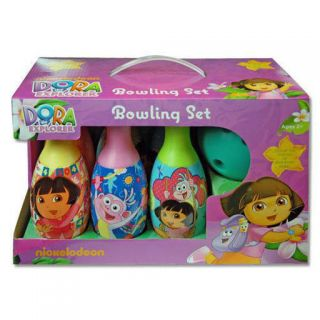 Bowling Gift Set 6 Pins Kids Toy Dora The Explorer Boots Birthday Girl 2 New