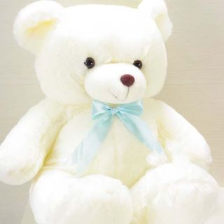 "New Large Awesome White Plush Teddy Bear Tie Toy 32""H"