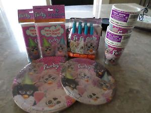 New Furby Kid's Birthday Party Set for 8 Plates Invitations Cups Whistles