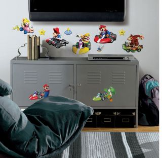 34 Mario Bros Kart Wii Luigi Yoshi Kids Decor Wall Decals Stickers Stick UPS New