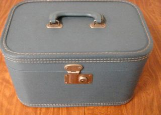 Vintage Blue Hard Sided Train Case Suitcase Cosmetic Case