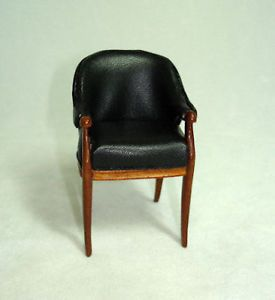 Bespaq Mini Art Deco Moderne Black Leather Vanity Chair