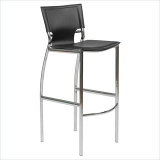 Eurostyle Vinnie B Chair Black Leather Chrome Bar Stool